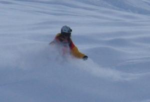 FWT skier Patrick Baskins battling the deep snow in Courmayeur