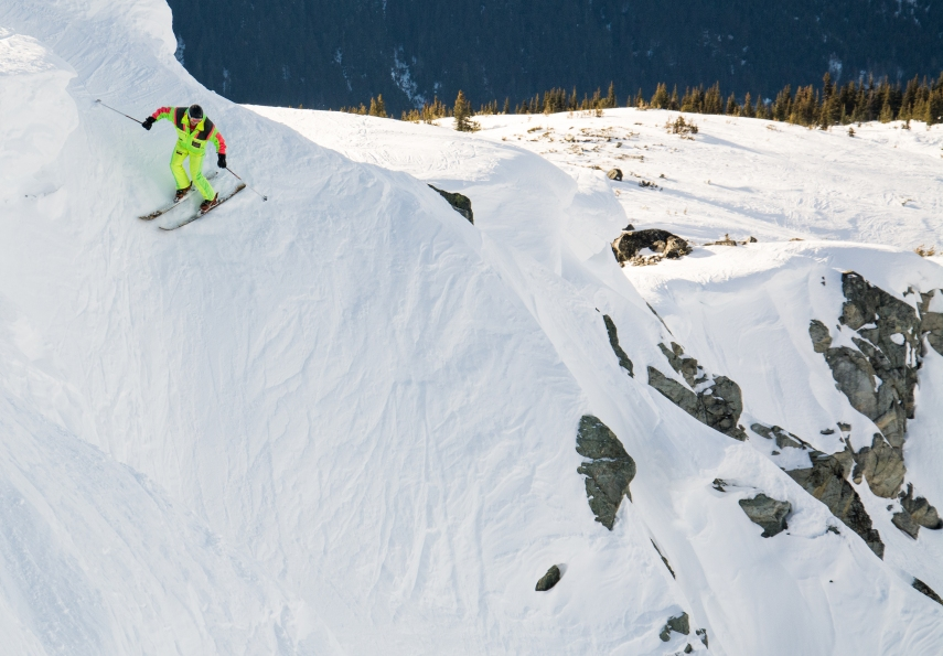 Steep skiing on Blackcomb mountain