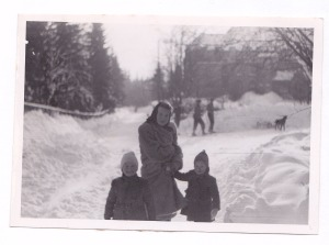 Ingrid and her family in the snow