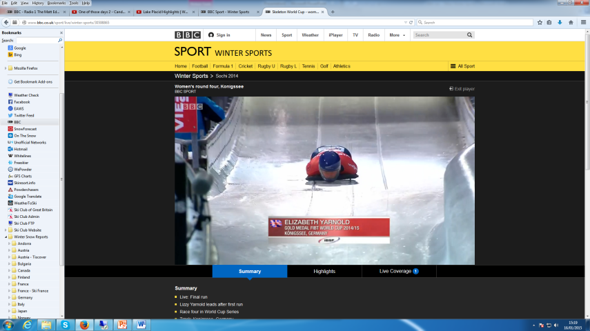 British Olympic gold medallist from Sochi Lizzy Yarnold smashing the opposition to win in Königssee by almost a second [Credit: BBC Sport – Screenshot]