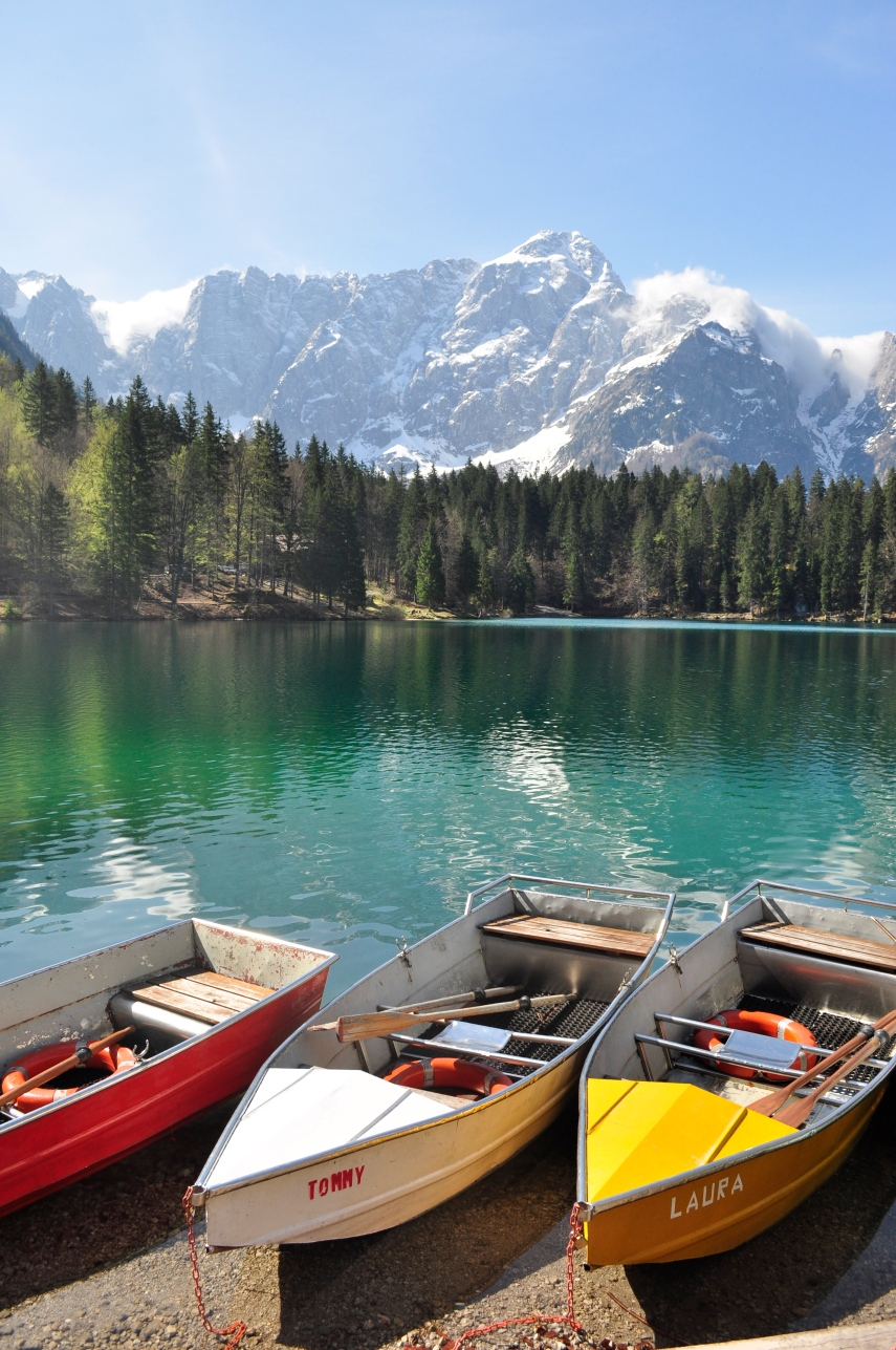 Fusine Lake with boats