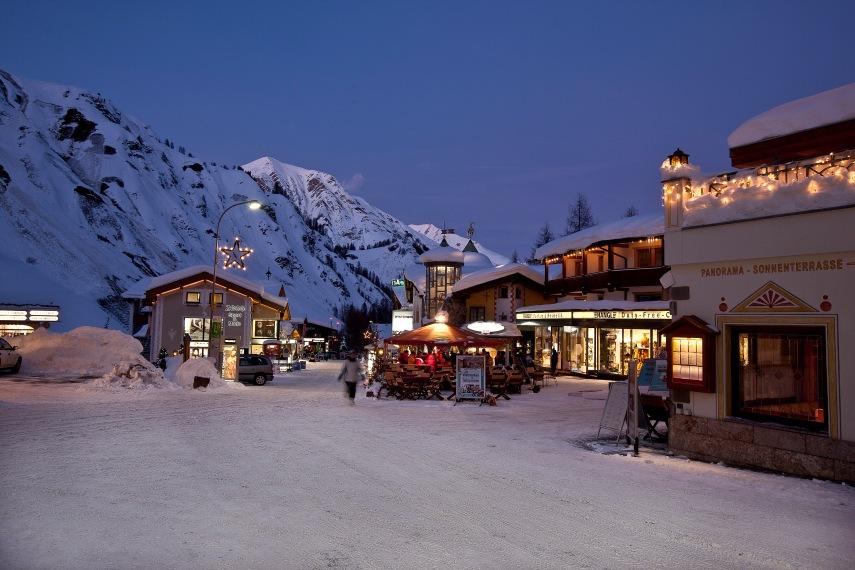 Village ski resort at Christmas