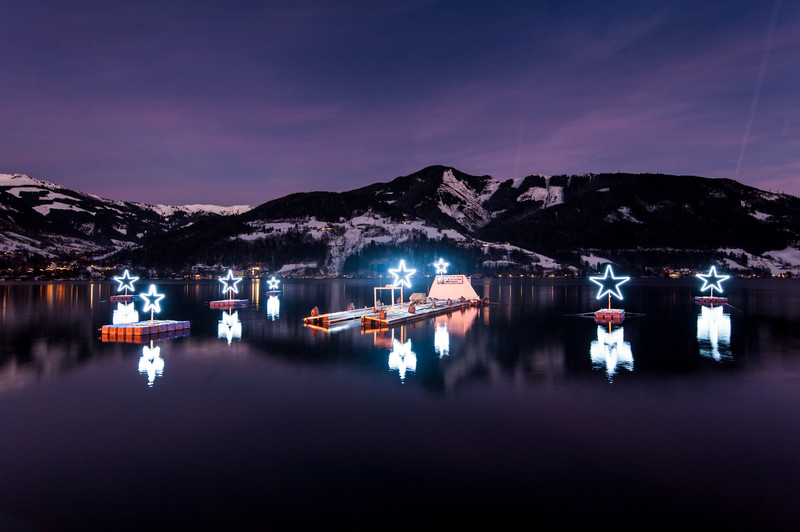 ski resort lake at Christmas