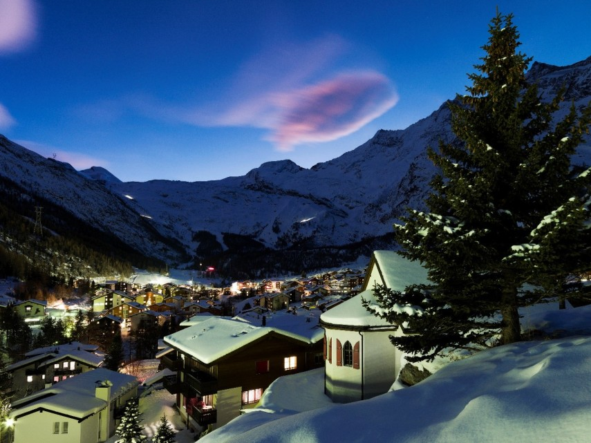 saas fee ski resort at night
