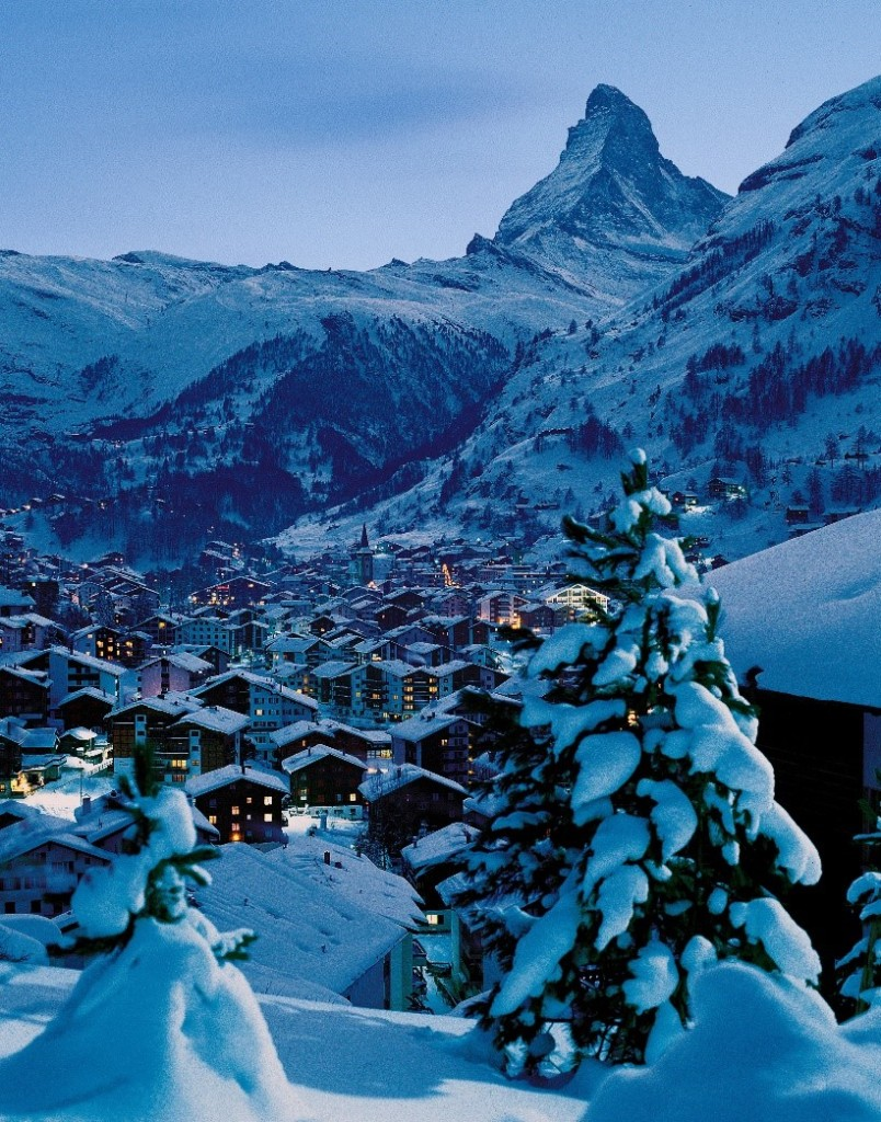zermatt ski resort at dusk