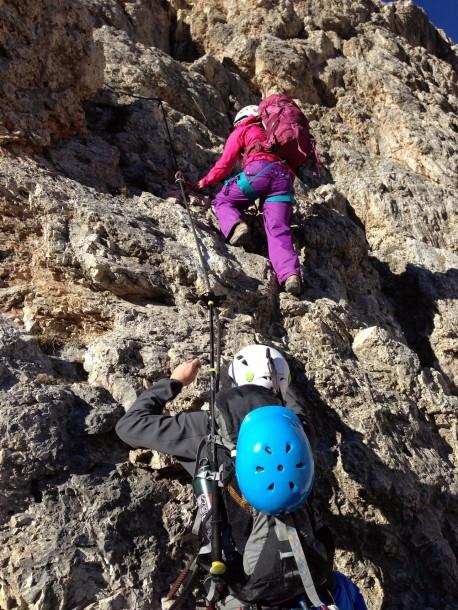 hiking up the dolomites