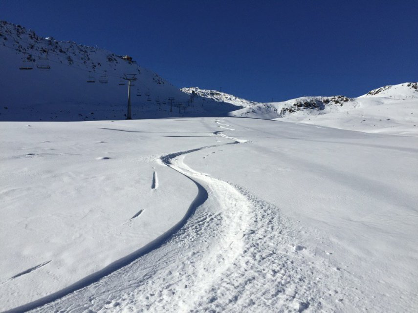 Snow tracks in powder