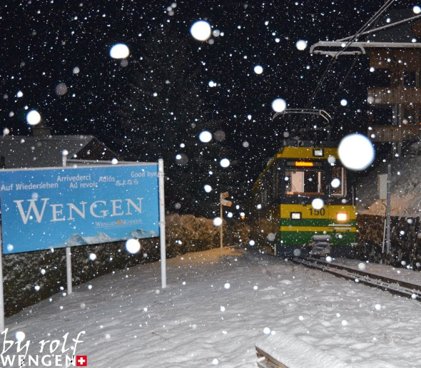 snowfall in wengen