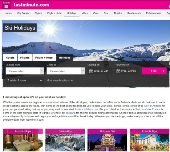 screenshot cheap last minute ski holidays