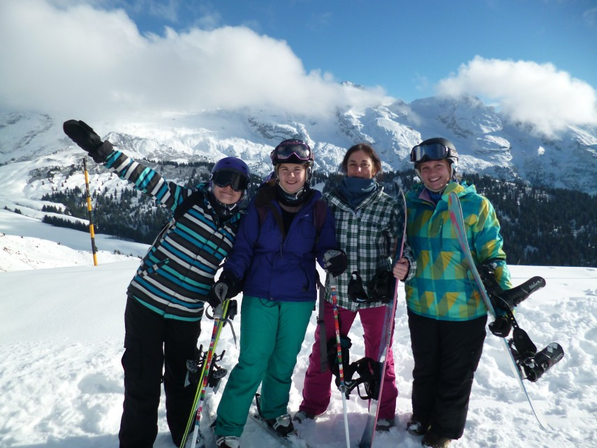 friends in the alps skiing
