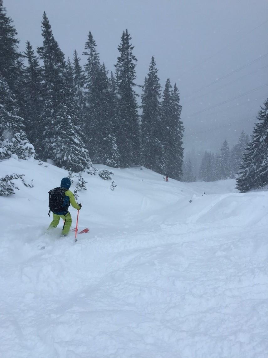 skier skiing down snowy mountain