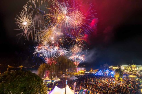 American Express Queenstown Winter Festival 2015 opening party & fireworks opened by NZ Prime Minister John Key